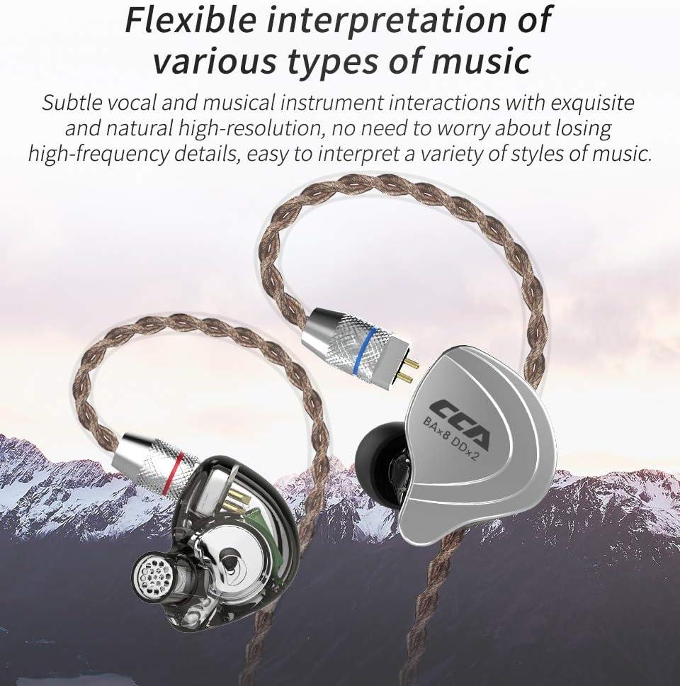 CCA C10 Headphones IEM Earbuds 4BA 1DD Hybrid Drivers, 5 Hybrid Drivers CCA Earbuds in Ear Stereo Headset Noise Isolating Earphone No Mic, Black