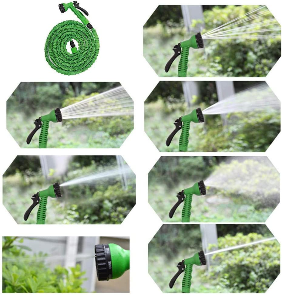 garden hose expandable, 3 times retractable light water pipe, with 7 function car Sprinkler, used for car washing, garden watering For courtyard gardens Orange 150FT