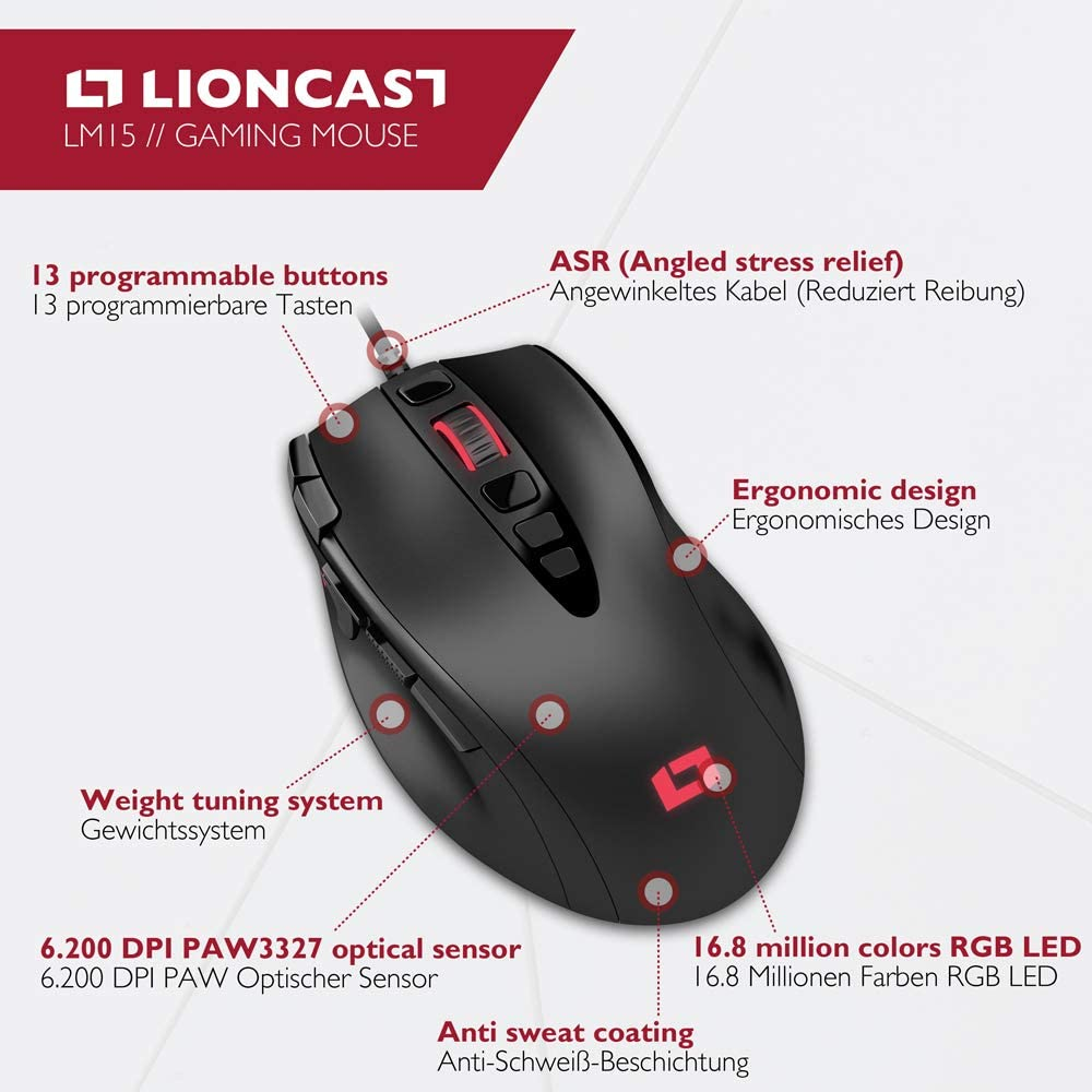 Lioncast Lm15 Gaming Mouse With 13 Programmable Buttons Computers Accessories