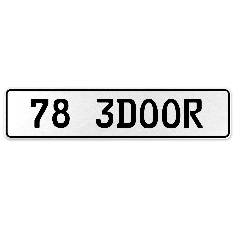Vintage Parts 558041 78 3DOOR White Stamped Aluminum European License Plate