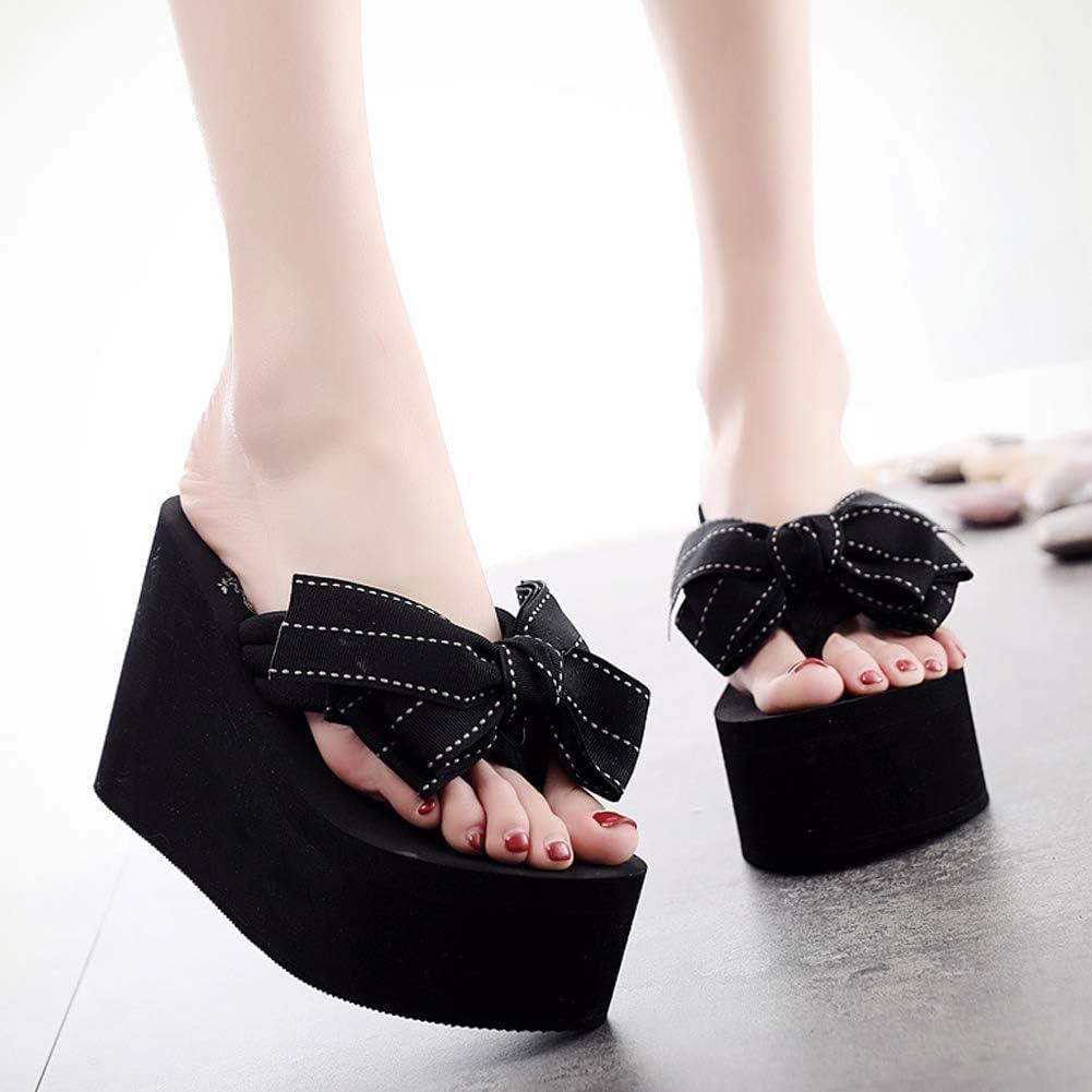 Hanxue Womens Chunky High Platform Wedge Flip-Flops Sandals