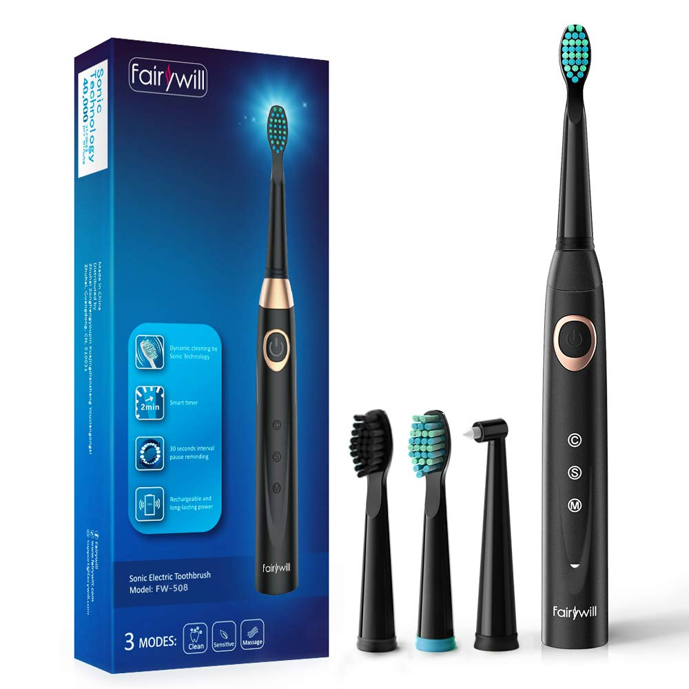 Sonic Electric Toothbrush Rechargeable for Adults - 4 Replacement Heads Orthodontic Cleaning for Braces with 2 Minutes Timer, USB Fast Charging Portable Teeth Whitening Toothbrush Black by Fairywill