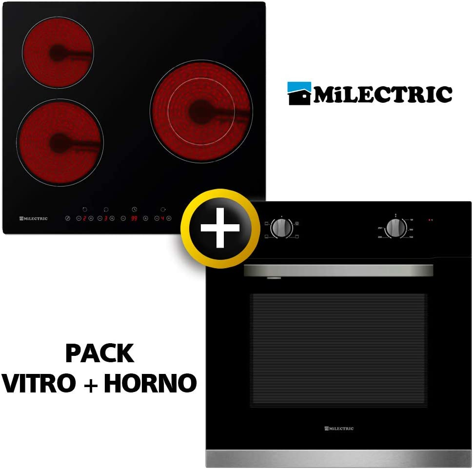 Pack VITRO + Horno MILECTRIC (Placa Encimera mas Horno multifuncion, Pack Ahorro) (VITRO + Horno)