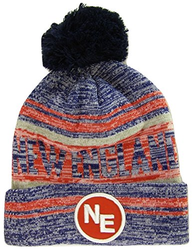 BVE Sports Novelties New England NE Patch Fade Out Cuffed Knit Winter Pom Beanie Hat (Navy/Red)