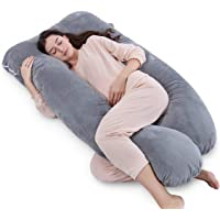 QUEEN ROSE Oreiller de grossesse, oreiller de corps avec la couverture remplaçable et lavable (150_x_80_cm, Peluche, Gris)
