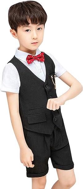 Disfraz de niño para Boda o bebé, 5 Piezas, Chaleco, Camisa, pantalón, Lazo, Pajarita, Broche para Ropa Negra Ceremonia Negro 10-11 años: Amazon.es: Ropa y accesorios