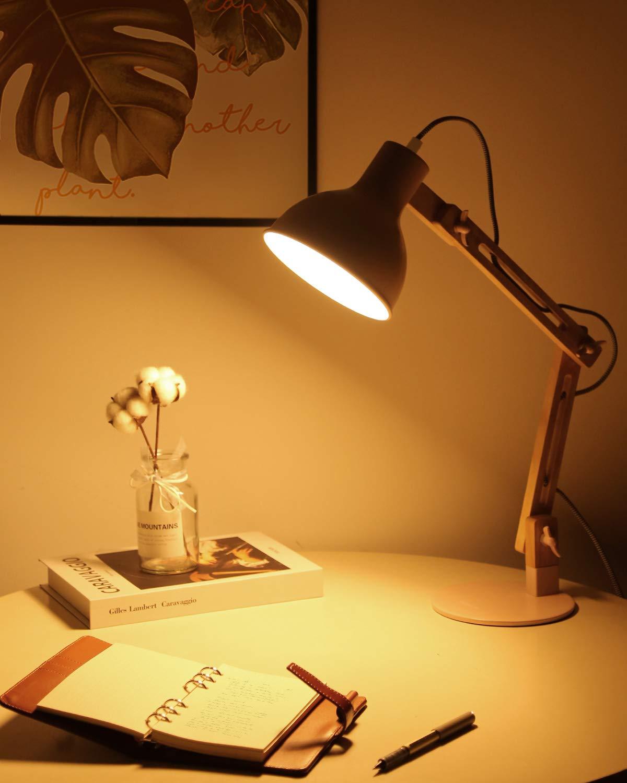 Tomons Lampada Da Lettura Design Legno Classico Eye Friendly Con Braccio Snodato Lampada Da Tavolo La Lampada Da Lavoro Lampada Da Comodino Bianco Lampada Regolabile Scrivania Lampada Da Ufficio Lampade Da Lavoro Com