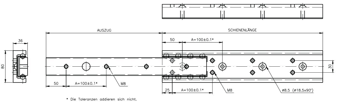 Slide rail DA 4120 (single rail) slide length 700mm aluminium by Maedler
