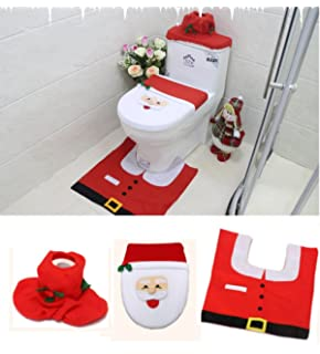Santa Toilet Seat Cover And Rug Set For Bathroom Christmas Decorations With Tank Tissue Box