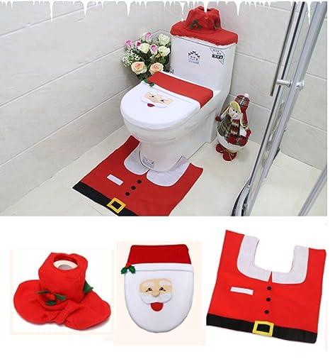 Set Bagno Babbo Natale.Babbo Natale Copriwater Copertura E Tappeto Set Per Il Bagno Di