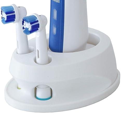 Portacepillos de dientes compatible con Oral-B para 2 cepillos, color blanco, impresión
