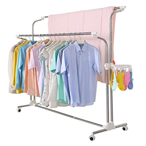 BAOYOUNI Perchero de metal para secado de ropa con doble ...