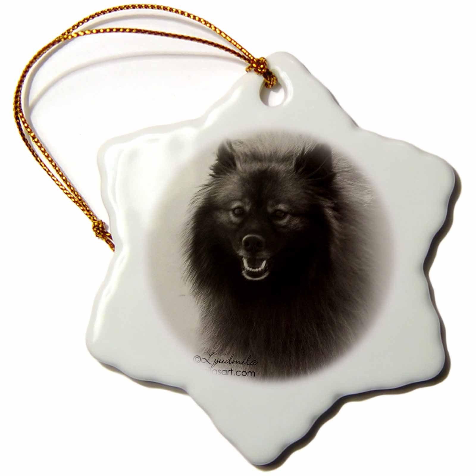 3dRose German Spitz - Snowflake Ornament, Porcelain, 3-inch (orn_4628_1)