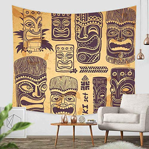 Tapestry Artwork Wall Hanging Hawaiian Tribal Tiki Mask Sculpture Polynesian Totem Tribe Island Design Maya Home Decor Tapestries Decorative Bedroom Living Room Dorm 60×60 Inches DBZY241