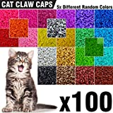 100 pcs Soft Cat Nail Caps for Cats Claws 5X Different Random Colors + 5X Adhesive Glue + 5X Applicator - Kittens Cap Tips Pet Paws Claw Grooming Kitten Medium Kitty Soft Covers (M)