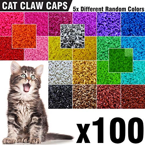 - 100 pcs Soft Cat Nail Caps for Cats Claws 5X Different Random Colors + 5X Adhesive Glue + 5X Applicator, Kittens Cap Tips Pet Paws Claw Grooming Kitten Medium Kitty Soft Covers (M)
