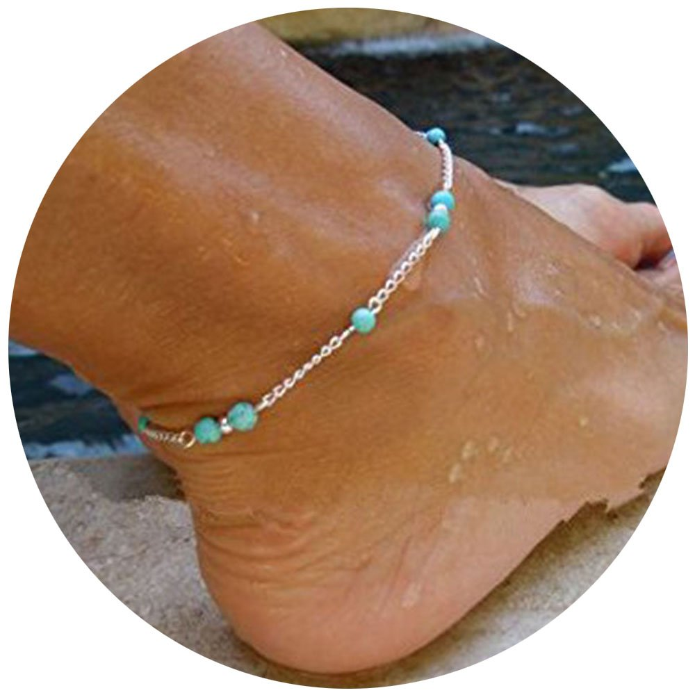 Unique Nice Turquoise Beads Silver Chain Anklet Ankle Bracelet Foot Jewelry MINGHUA