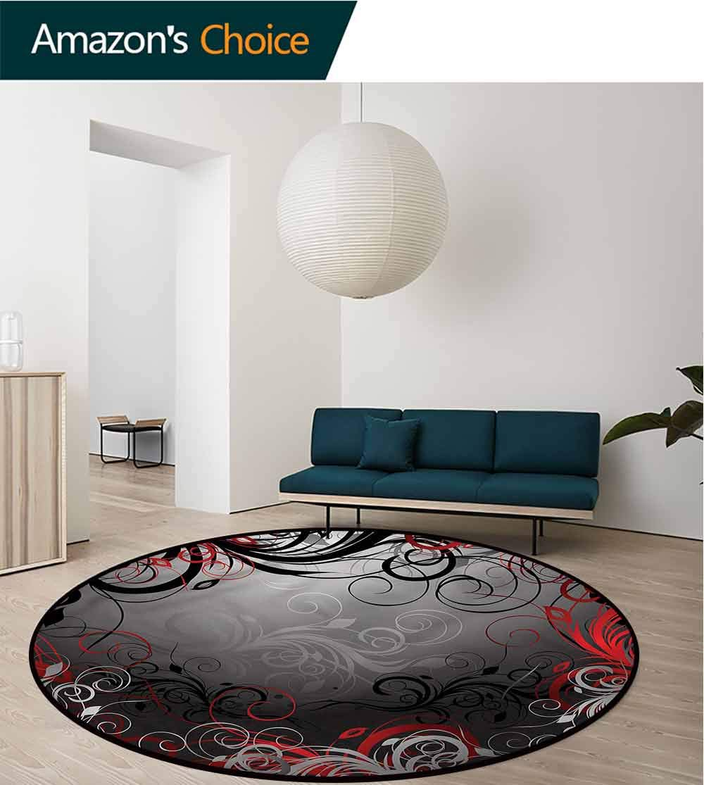 RUGSMAT Red and Black Art Deco Pattern Non-Slip Backing Round Area Rug,Mystic Magical Swirls Oriental Floor and Carpets Diameter-47 by RUGSMAT