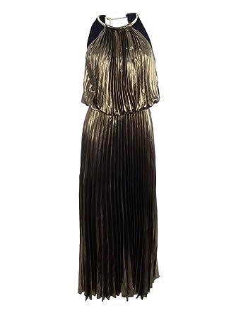 f2c0e139e4b1 MSK Women's Pleated Metallic Blouson Halter Dress (4, Black/Gold) at Amazon  Women's Clothing store: