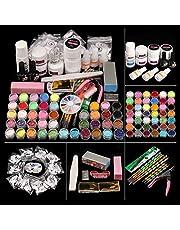 Morovan Shinny Glitter Acrylic Nail Kit Set,with Nail Flowers Monomer and Basic Nail Art Tools Nail DIY Decoration Gift Box Set