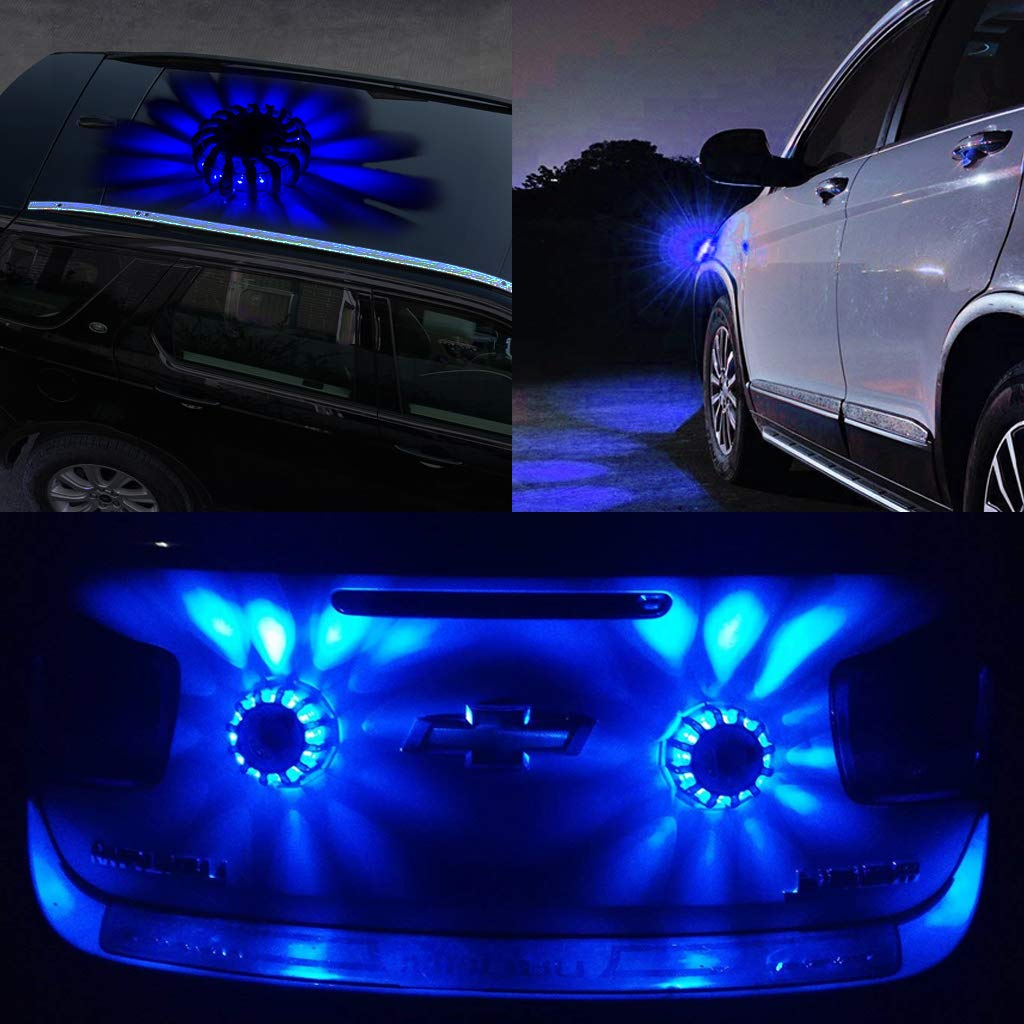 1 Pcs LED Emergency Roadside Flares Flashing Warning Light Safety Beacon Rechargeable Disc Car Truck Boat Flash Light Blue EFORCAR Flare Light