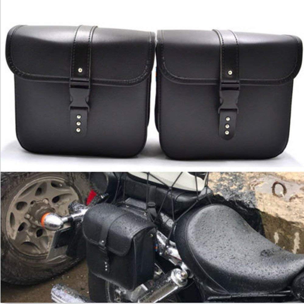 Saddlebags For Motorcycle Universal Leather PU Waterproof 7L Large Capacity Saddlebags Softailfor Scooter Honda Suzuki Yamaha HD Street Sportster by AUTLY