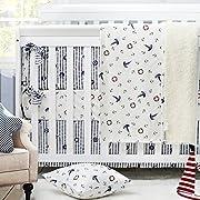 Nautical Bedding of Baby Boy Crib Bedding Set Ocean Anchor Pattern Nursery Crib Bedding Set by Brandream, White & Navy Blue, 4 Pieces