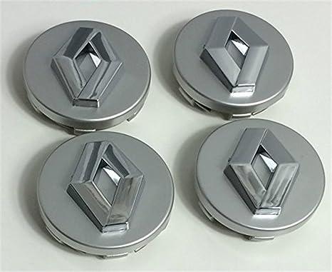 4 x 60 mm Alloy ruedas Buje centro tapas Renault gris/cromo logo set de