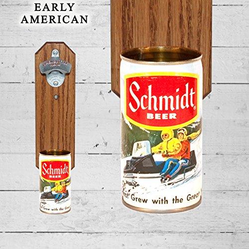 (Wall Mounted Bottle Opener with Vintage Schmidt Snowmobile Beer Can Cap Catcher)