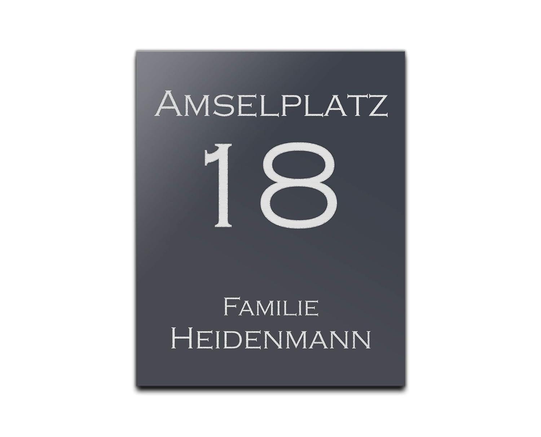 Motive Hausnummer Namensschild 20x25 cm Edles T/ürschild Schild mit Gravur