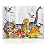 "pictures for kids rooms Kolo Wall Art Canvas Wall Art Decor Retro Dinosaur with Wood Background Dual View Animals Picture Prints Framed for Kid's Room Wall Decoration (16""x20"", Dinosaur)"