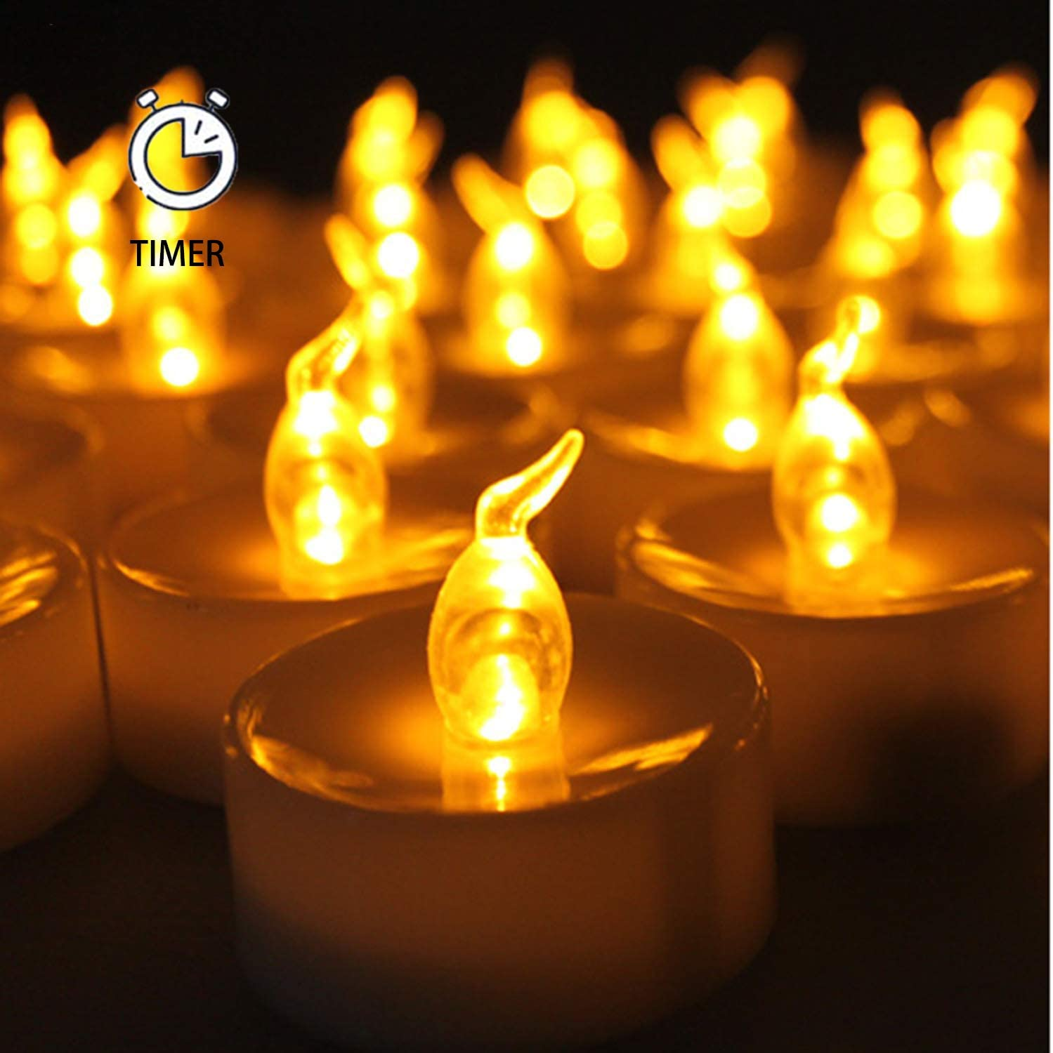 AGPtek 24 Pack Flameless Amber Yellow Wave Open Led Tea Light Candle Realistic flickering Bulb Timer 6 Hours On Seasonal Festival Celebration Electric Battery Fake Candle