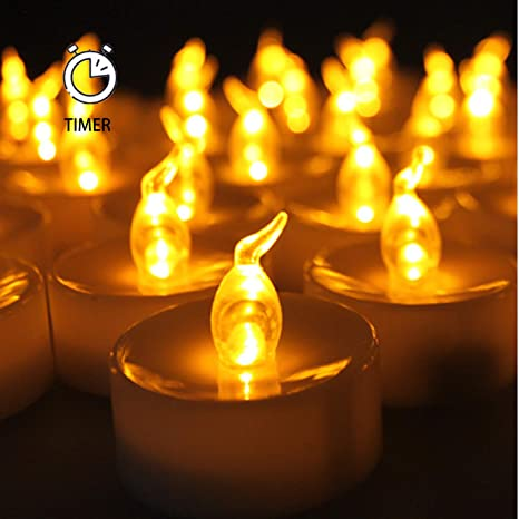 Pack of 24 |Instapark/® Parties Realistic Flickering Amber Yellow Battery Powered Bulb Tealight Celebrations and Special Events Flameless LED Tea Light Candles Perfect for Seasonal D/écor