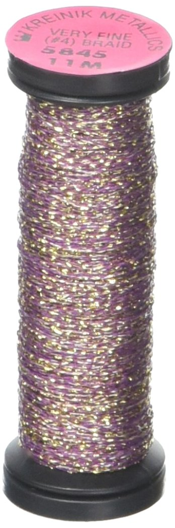 Kreinik No. 4 Very fine Metallic Braid, 11 m, Golden Cabernet VF-5845