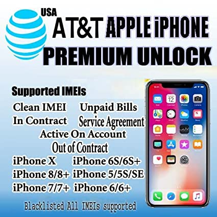 Amazon com : AT&T USA Premium Factory Unlocking Service All iPhone 8