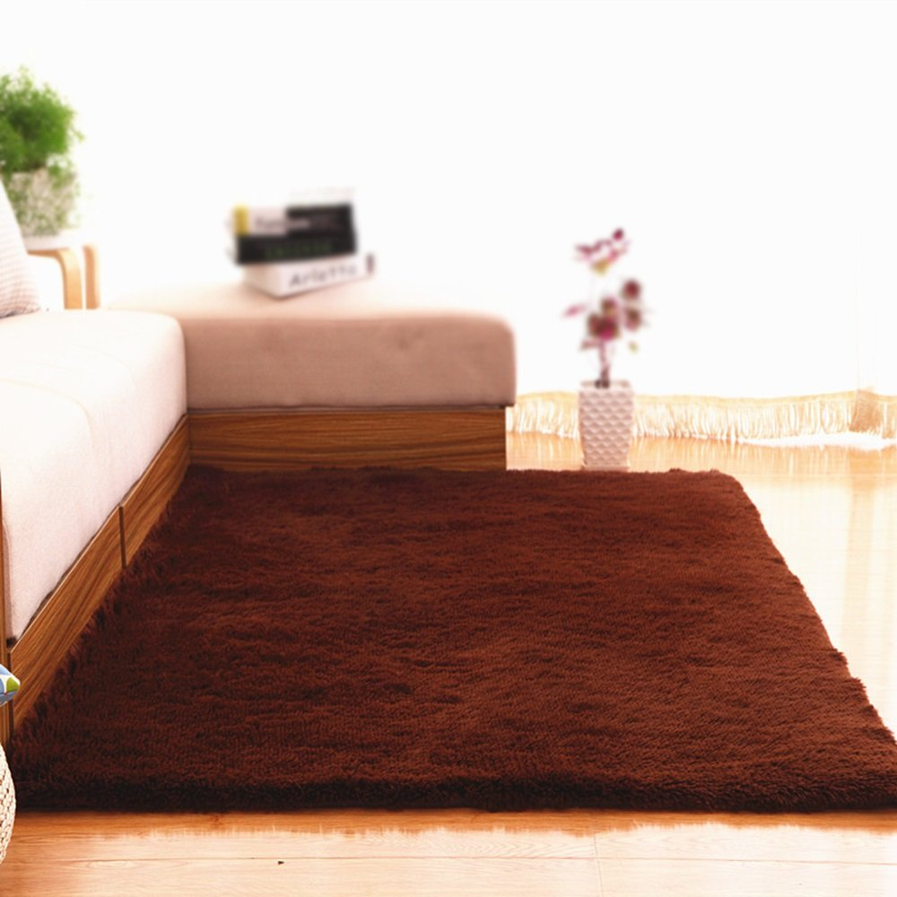 Brown thicken non-slip carpet / living room sofa coffee table bedroom carpet / bedside blanket solid color decoration carpet ( Size : 160200cm )