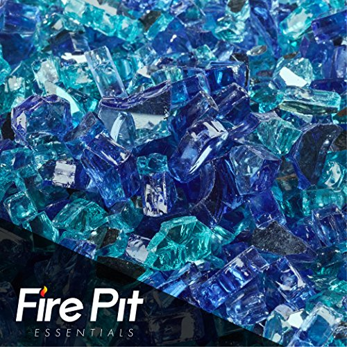 """Passion Pit Essentials 10 Pounds Blended Fire Glass for Fireplace Indoor & Outdoor (1/2"""" Inch, Southern Ocean)"""