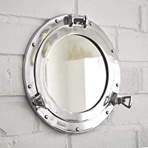 Hind Handicrafts Wall Mounted Vintage Nautical Ship Porthole Mirror for Home Decor | Pirate's Maritime Nautical Themed Decor | Vanity Mirror (12 INCHES, Nickel Chrome)