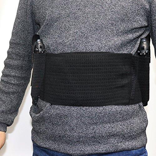 Belly Band Holster - concealed carry holster - body knife holster pistol running concealed carry holster belly band hidden Waist Band Pistol Holster two gun pockets for men women (Gun Running)
