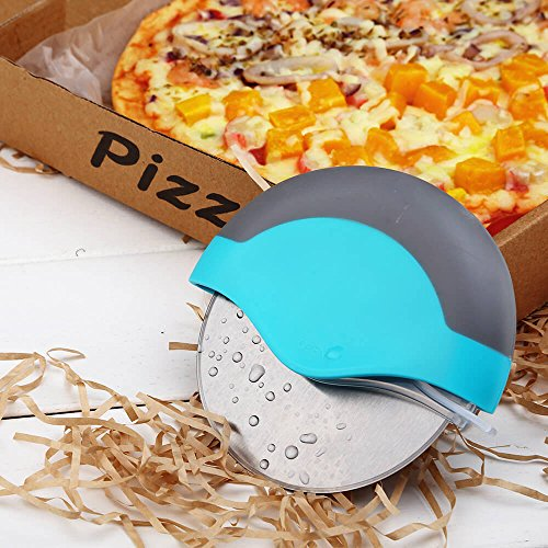 Best Pizza Cutter Wheel Stainless Steel - Integrated Blade Guard, Super Sharp and Easy To Cleaning, Includes FREE E-BOOK on Tips, Products, & Reviews, Perfect Gift for Girl, Mom, Friend (Blue)