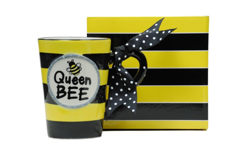 Whimsical Queen Bee 13 oz Coffee Mug with Polka Dot Bow on Handle Gift Boxed