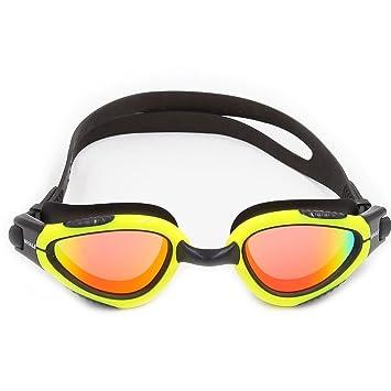 Ballena cisne espejo gafas de natación con lentes polarizadas, antivaho y protección UV, Negro