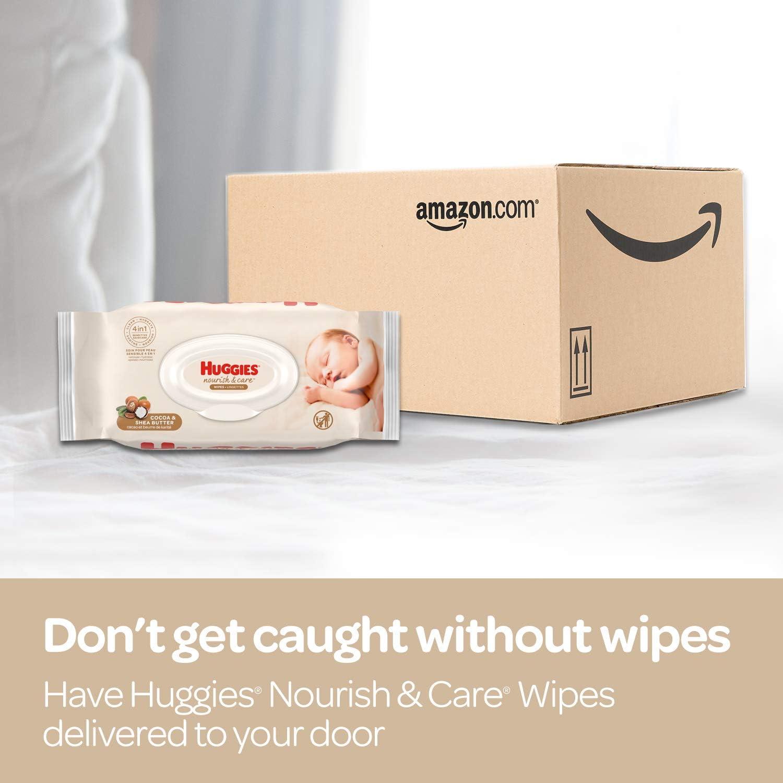 Huggies Nourish & Care Baby Wipes, Sensitive Skincare, Scented, Water-Based, 3 Flip-Top Packs, 56 Count (168 Wipes Total)