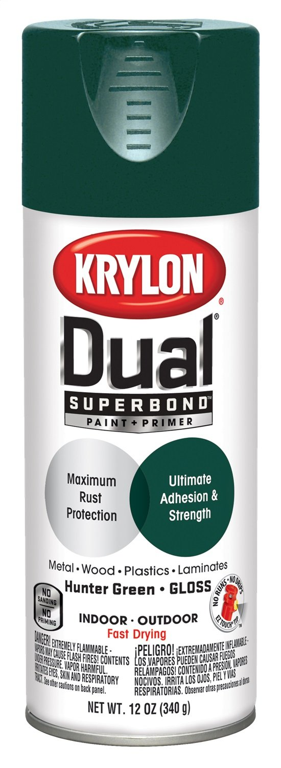 Krylon K08808007 'Dual' Superbond Paint and Primer, Gloss Hunter Green, 12 Ounce
