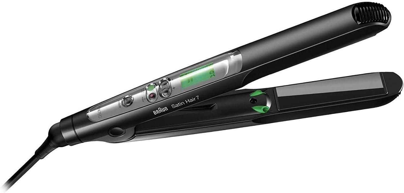 Braun Satin Hair 7 ST710 Plancha de pelo Caliente Negro 2 m - Moldeador de pelo (Plancha de pelo, Caliente, Y, 200 °C, 40 s, Negro)