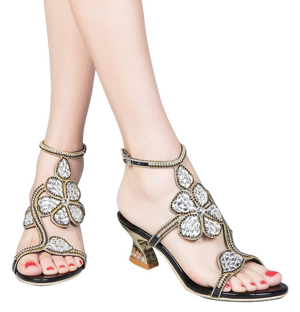 YooPrettyz Rhinestones Comfort Chunky Low Heel Sandals Flowers Deco Dress Sandals Ankle Strap Black 7.5