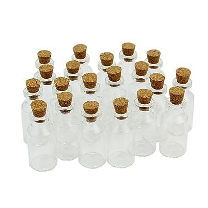 20X Nuevo Pequeño Botella de Cristal Frasco de Vidrio Borosilicato con Tapones de Corcho (18