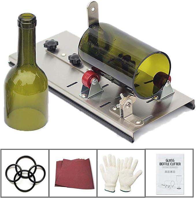 KKmoon Cortador de Botellas de Vidrio,Herramienta de Corte de Botellas de Vidrio de Acero Inoxidable,Herramienta de Corte de Botellas de Cerveza de Vino con Ruedas