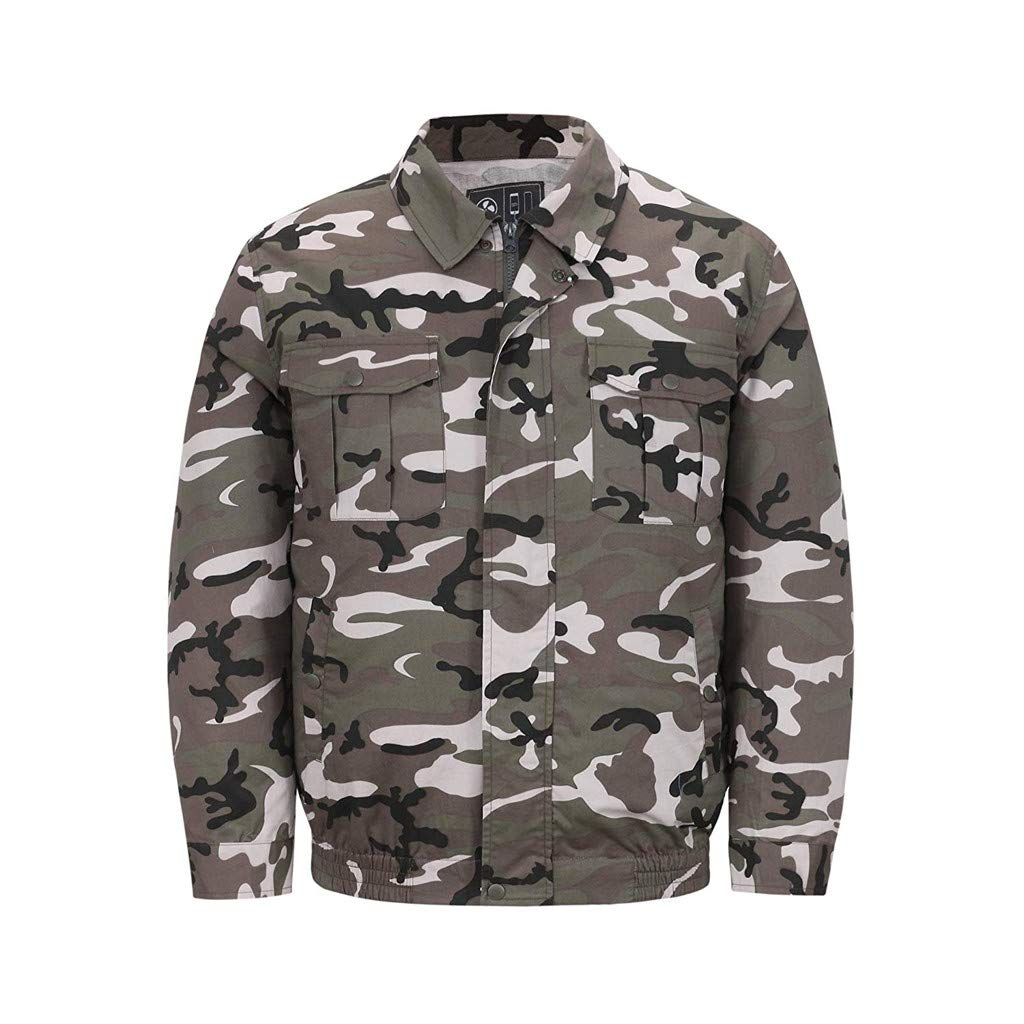 2019 UV Resistant Double Fan Jacket, Workwear Equipped Cooling Vest Fan with Battery Pack for Summer Outdoors Air-Conditioned Long Sleeve Top Unisex Available (Camouflage, Large)