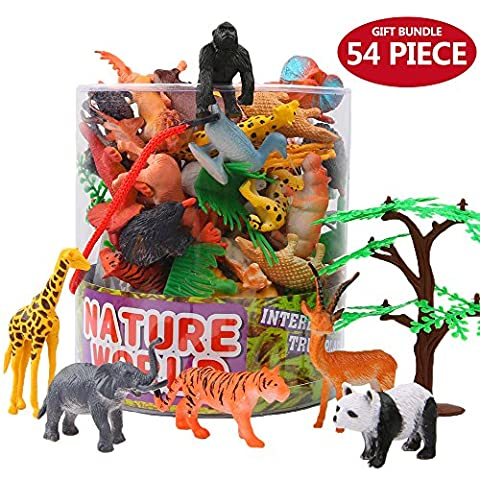 Animals Figure,54 Piece Mini Jungle Animals Toys Set With Gift Box,ValeforToy Realistic Wild Animal Learning Party Favors Toys For Boys Girls Kids Toddlers Forest Small Farm Animals Toys Playset - Animali